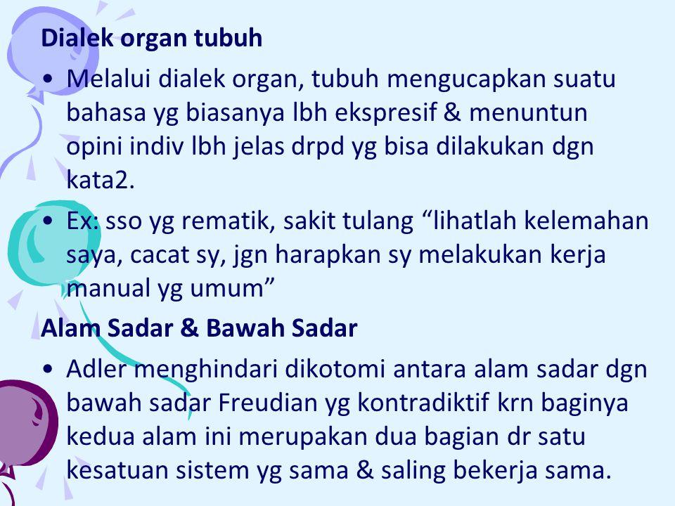 Dialek organ tubuh Melalui dialek organ, tubuh mengucapkan suatu bahasa yg biasanya lbh ekspresif & menuntun opini indiv lbh jelas drpd yg bisa dilakukan dgn kata2.
