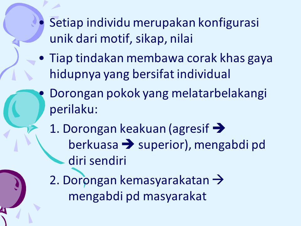Setiap individu merupakan konfigurasi unik dari motif, sikap, nilai Tiap tindakan membawa corak khas gaya hidupnya yang bersifat individual Dorongan pokok yang melatarbelakangi perilaku: 1.