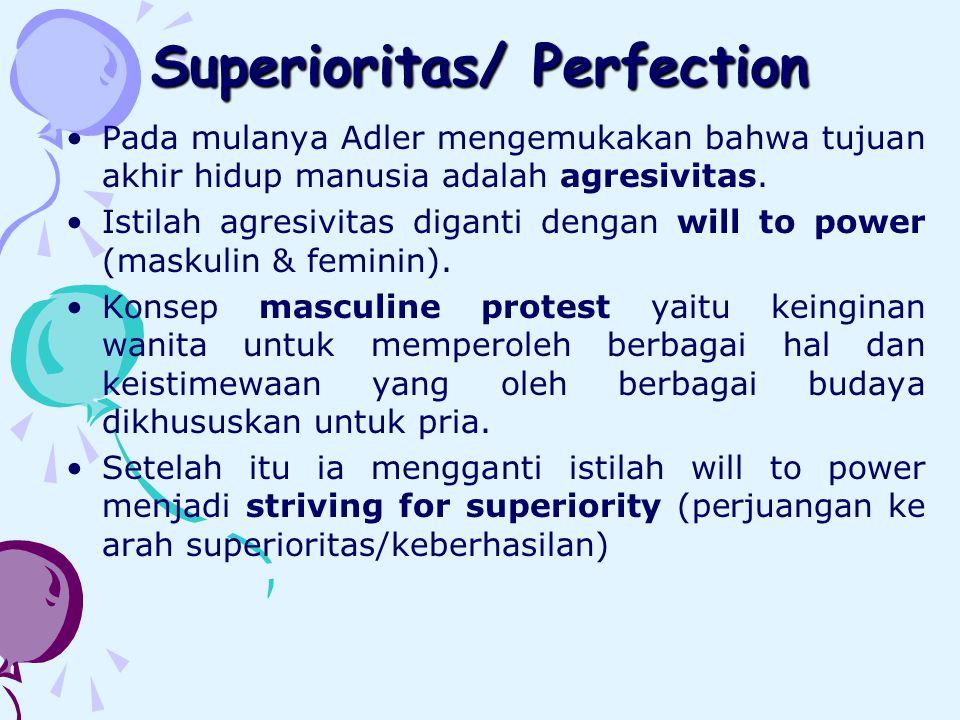 Superioritas/ Perfection Pada mulanya Adler mengemukakan bahwa tujuan akhir hidup manusia adalah agresivitas.