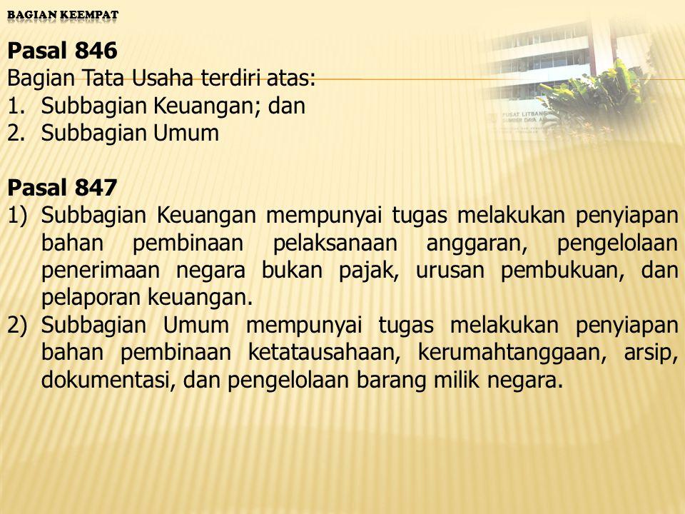 Susunan Organisasi Pasal 244 Balai Irigasi terdiri atas: 1.Subbagian Tata Usaha; 2.Seksi Penelitian dan Pengembangan 3.Seksi Penerapan dan Pelayanan.