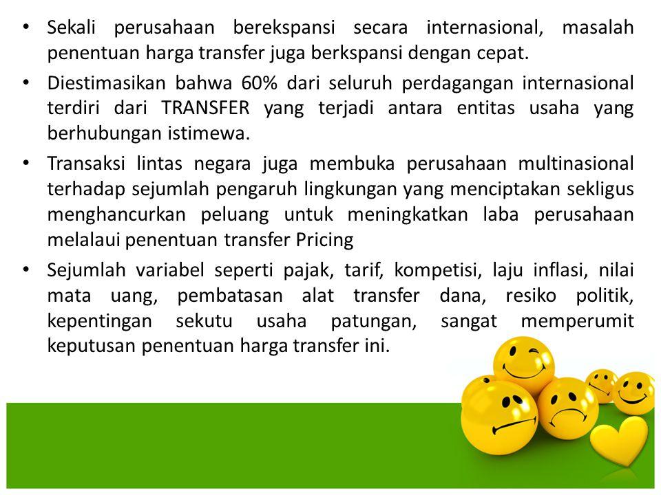 Sekali perusahaan berekspansi secara internasional, masalah penentuan harga transfer juga berkspansi dengan cepat. Diestimasikan bahwa 60% dari seluru