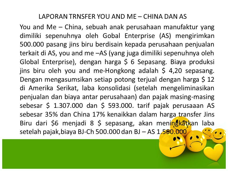 LAPORAN TRNSFER YOU AND ME – CHINA DAN AS You and Me – China, sebuah anak perusahaan manufaktur yang dimiliki sepenuhnya oleh Gobal Enterprise (AS) me