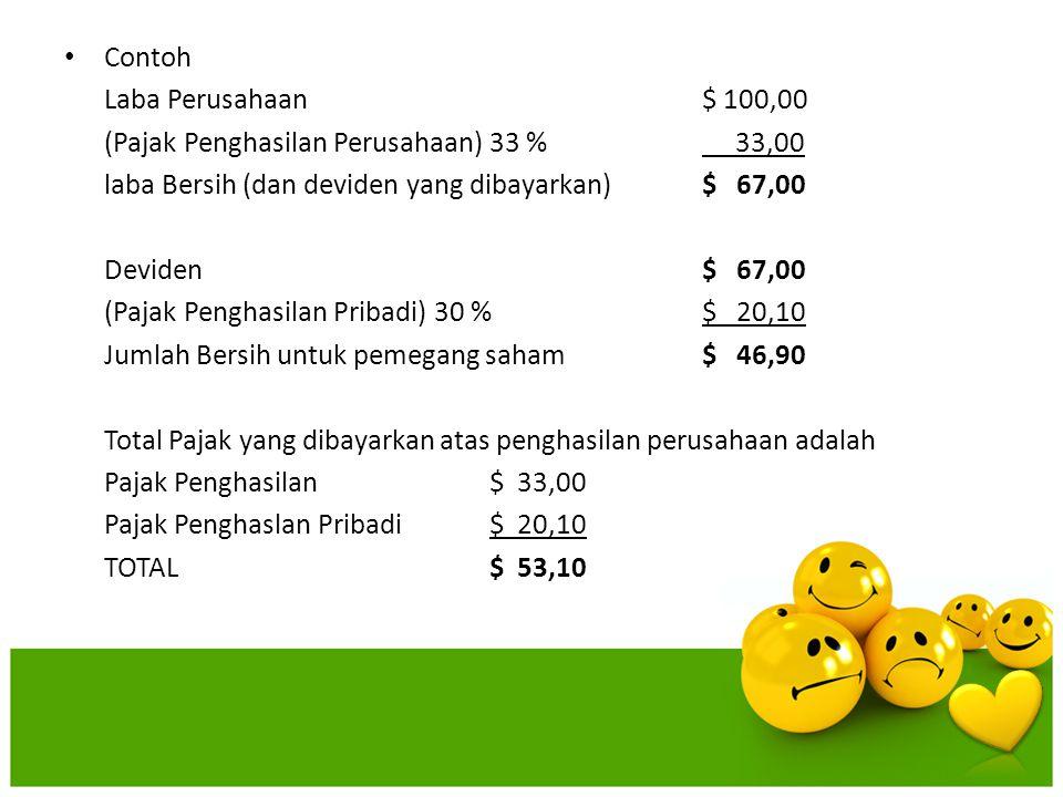Contoh Laba Perusahaan $ 100,00 (Pajak Penghasilan Perusahaan)33 % 33,00 laba Bersih (dan deviden yang dibayarkan)$ 67,00 Deviden$ 67,00 (Pajak Pengha
