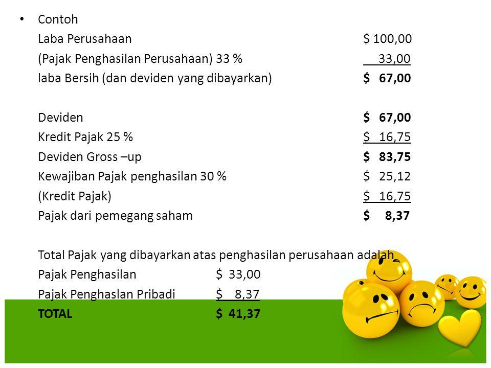 Contoh Laba Perusahaan $ 100,00 (Pajak Penghasilan Perusahaan)33 % 33,00 laba Bersih (dan deviden yang dibayarkan)$ 67,00 Deviden$ 67,00 Kredit Pajak