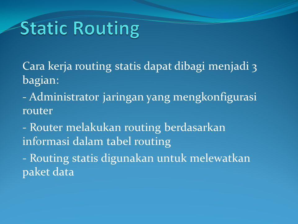 Cara kerja routing statis dapat dibagi menjadi 3 bagian: - Administrator jaringan yang mengkonfigurasi router - Router melakukan routing berdasarkan informasi dalam tabel routing - Routing statis digunakan untuk melewatkan paket data