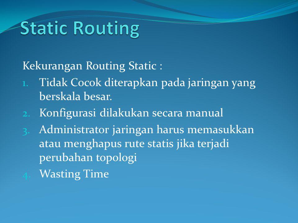 Kekurangan Routing Static : 1.Tidak Cocok diterapkan pada jaringan yang berskala besar.