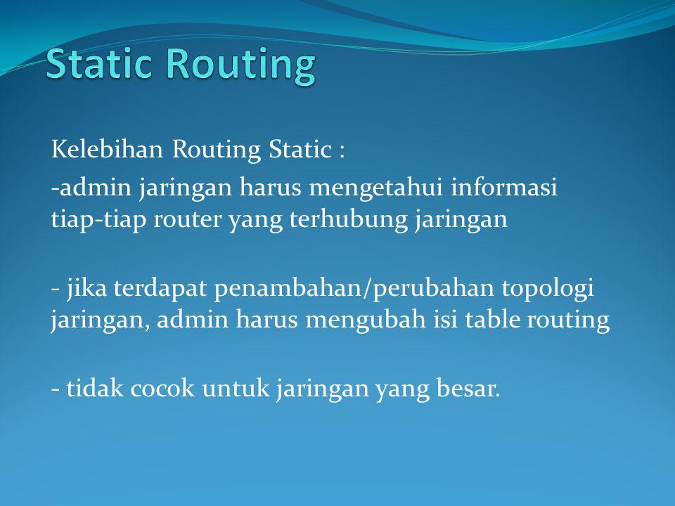 Kelebihan Routing Static : -admin jaringan harus mengetahui informasi tiap-tiap router yang terhubung jaringan - jika terdapat penambahan/perubahan topologi jaringan, admin harus mengubah isi table routing - tidak cocok untuk jaringan yang besar.
