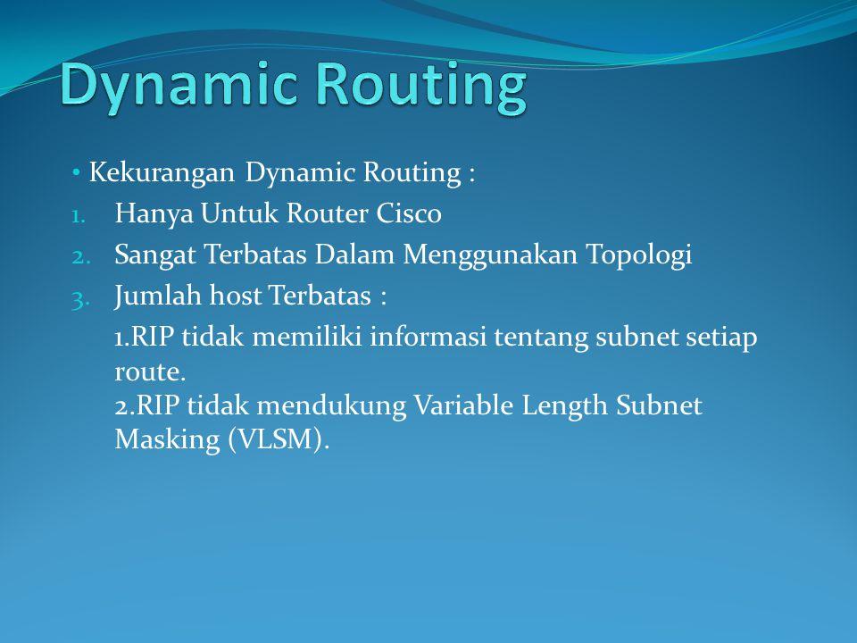 Kekurangan Dynamic Routing : 1.Hanya Untuk Router Cisco 2.