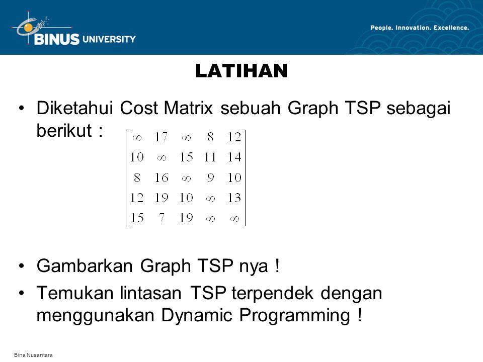 Bina Nusantara LATIHAN Diketahui Cost Matrix sebuah Graph TSP sebagai berikut : Gambarkan Graph TSP nya ! Temukan lintasan TSP terpendek dengan menggu