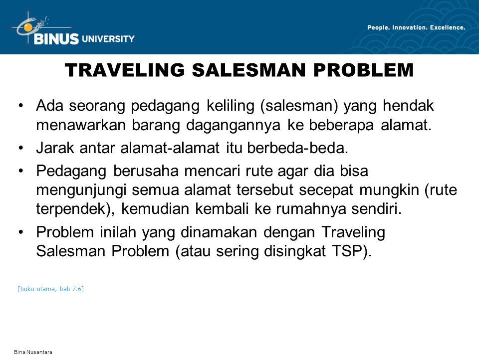 Bina Nusantara TRAVELING SALESMAN PROBLEM Ada seorang pedagang keliling (salesman) yang hendak menawarkan barang dagangannya ke beberapa alamat. Jarak