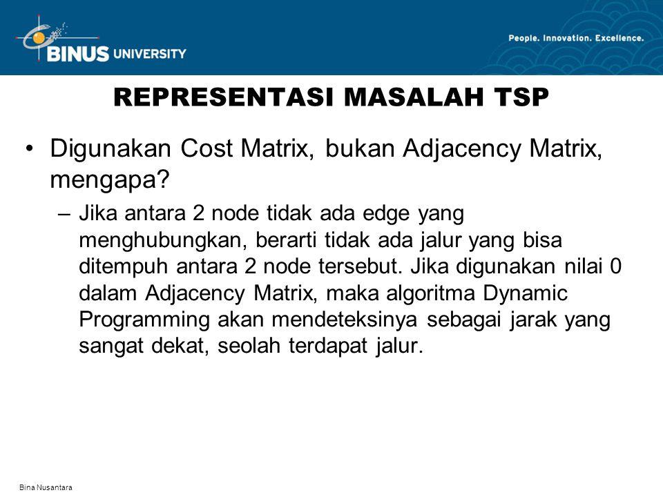 Bina Nusantara REPRESENTASI MASALAH TSP Digunakan Cost Matrix, bukan Adjacency Matrix, mengapa? –Jika antara 2 node tidak ada edge yang menghubungkan,