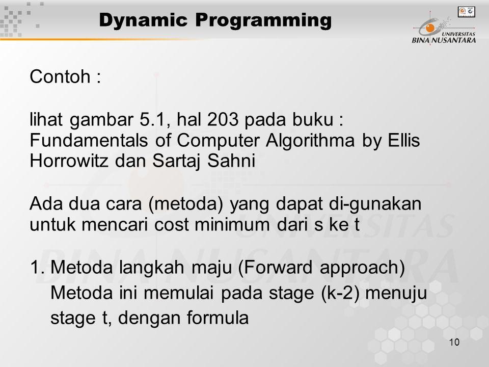 10 Dynamic Programming Contoh : lihat gambar 5.1, hal 203 pada buku : Fundamentals of Computer Algorithma by Ellis Horrowitz dan Sartaj Sahni Ada dua