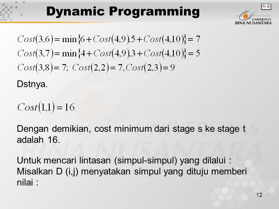 12 Dynamic Programming Dstnya. Dengan demikian, cost minimum dari stage s ke stage t adalah 16. Untuk mencari lintasan (simpul-simpul) yang dilalui :