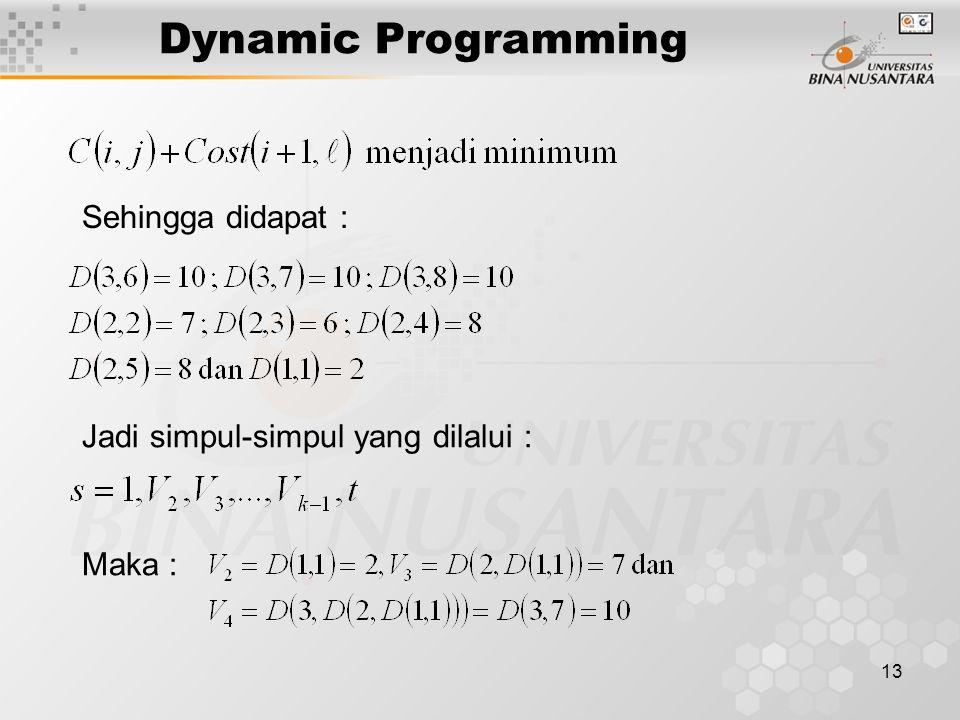 13 Dynamic Programming Sehingga didapat : Jadi simpul-simpul yang dilalui : Maka :