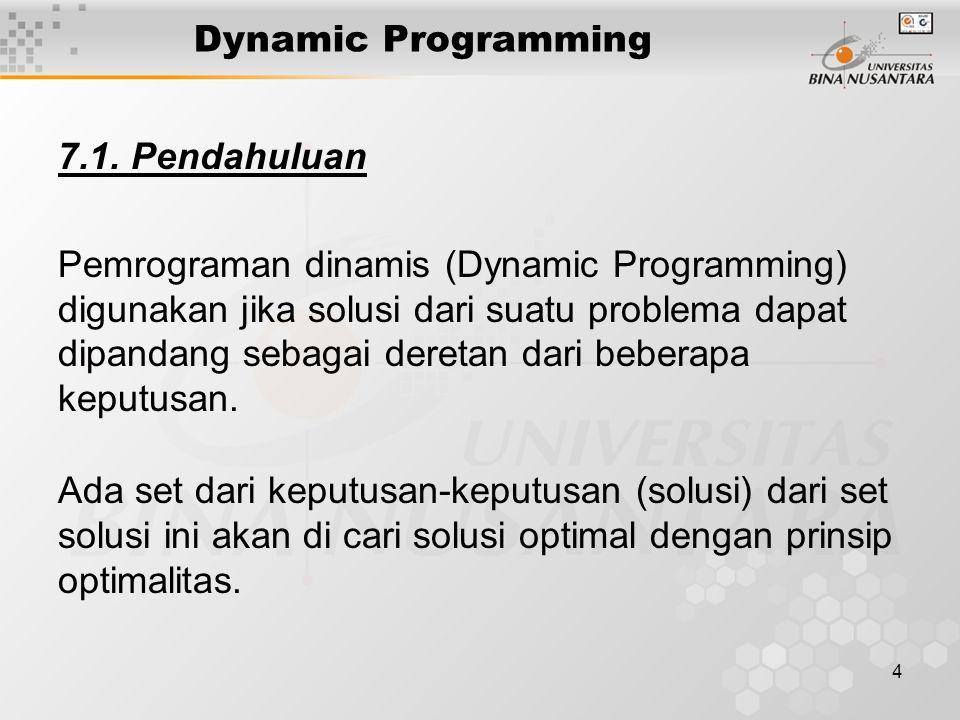 4 Dynamic Programming 7.1. Pendahuluan Pemrograman dinamis (Dynamic Programming) digunakan jika solusi dari suatu problema dapat dipandang sebagai der
