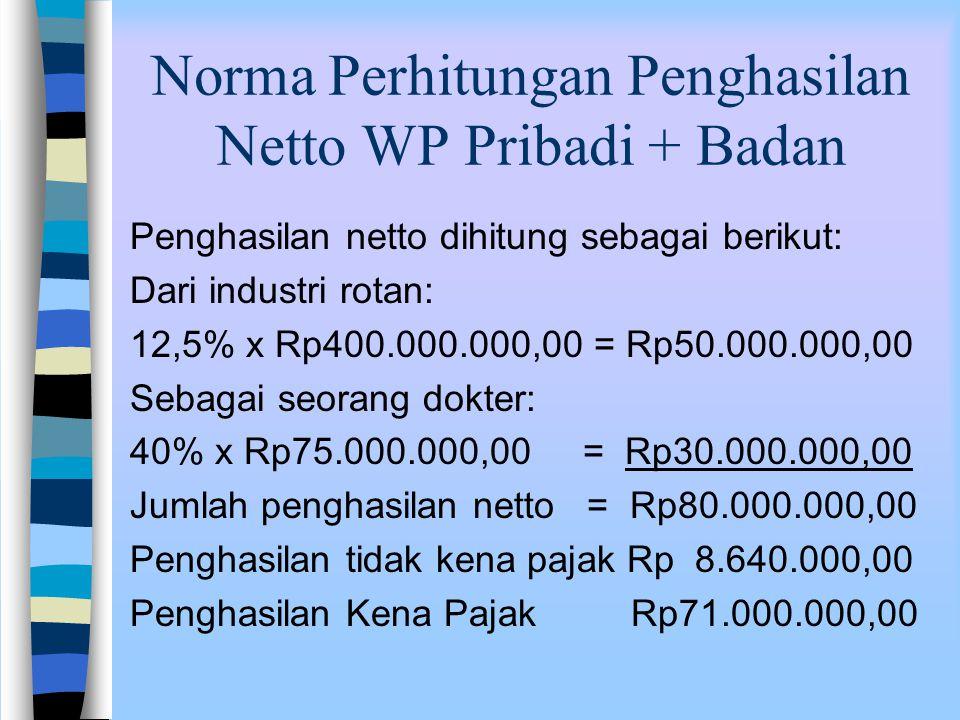 Norma Perhitungan Penghasilan Netto WP Pribadi + Badan Jawab: Peredaran usaha dari industri rotan di Cirebon setahunRp400.000.000,00 Penerimaan bruto seorang dokter di Jakarta setahunRp 75.000.000,00