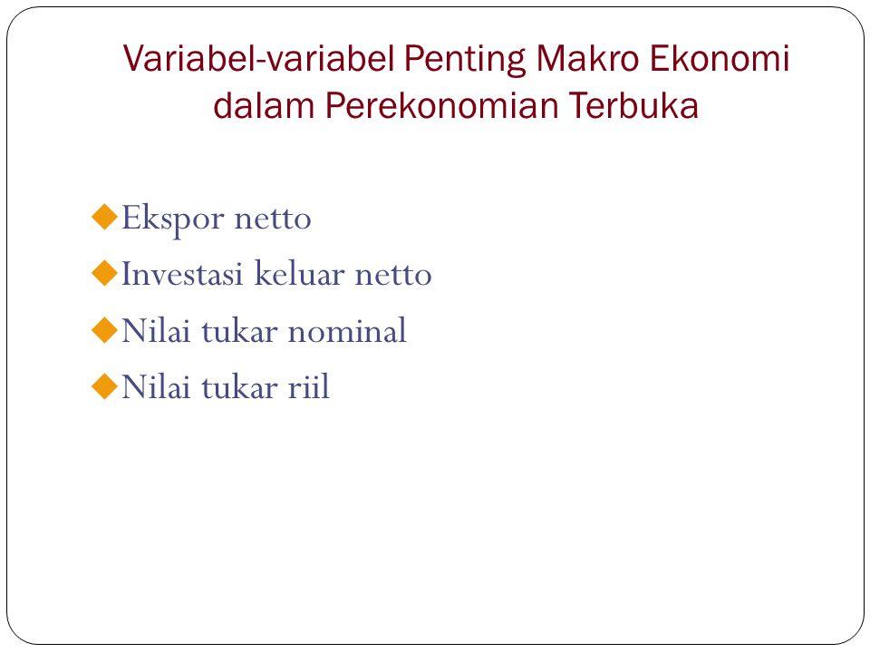 Variabel-variabel Penting Makro Ekonomi dalam Perekonomian Terbuka u Ekspor netto u Investasi keluar netto u Nilai tukar nominal u Nilai tukar riil