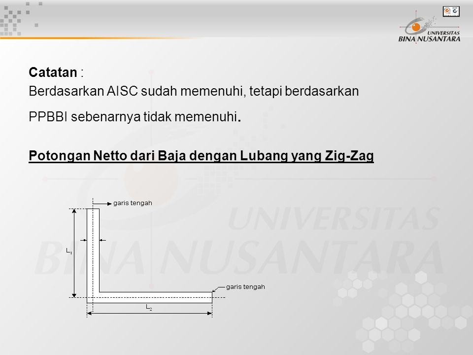 Catatan : Berdasarkan AISC sudah memenuhi, tetapi berdasarkan PPBBI sebenarnya tidak memenuhi.