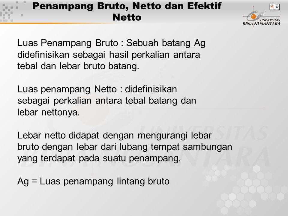 Penampang Bruto, Netto dan Efektif Netto Luas Penampang Bruto : Sebuah batang Ag didefinisikan sebagai hasil perkalian antara tebal dan lebar bruto batang.