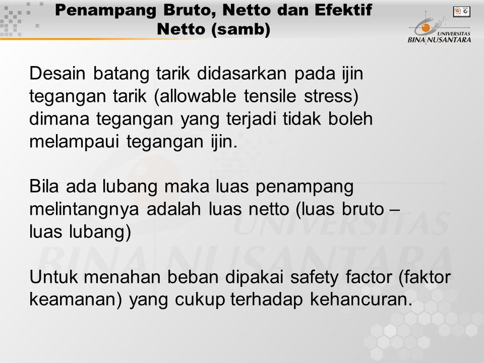 Penampang Bruto, Netto dan Efektif Netto (samb) Desain batang tarik didasarkan pada ijin tegangan tarik (allowable tensile stress) dimana tegangan yang terjadi tidak boleh melampaui tegangan ijin.