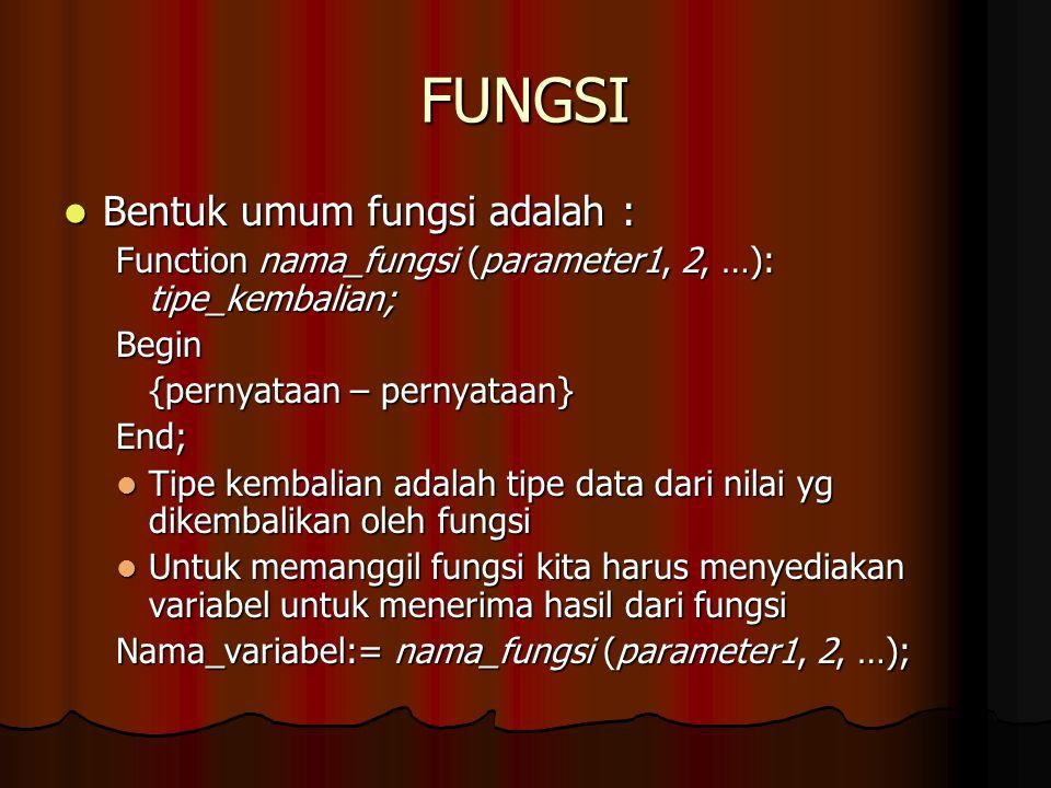 FUNGSI Bentuk umum fungsi adalah : Bentuk umum fungsi adalah : Function nama_fungsi (parameter1, 2, …): tipe_kembalian; Begin {pernyataan – pernyataan
