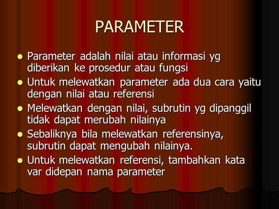 PARAMETER Parameter adalah nilai atau informasi yg diberikan ke prosedur atau fungsi Parameter adalah nilai atau informasi yg diberikan ke prosedur at