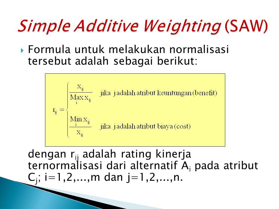  Formula untuk melakukan normalisasi tersebut adalah sebagai berikut: dengan r ij adalah rating kinerja ternormalisasi dari alternatif A i pada atrib