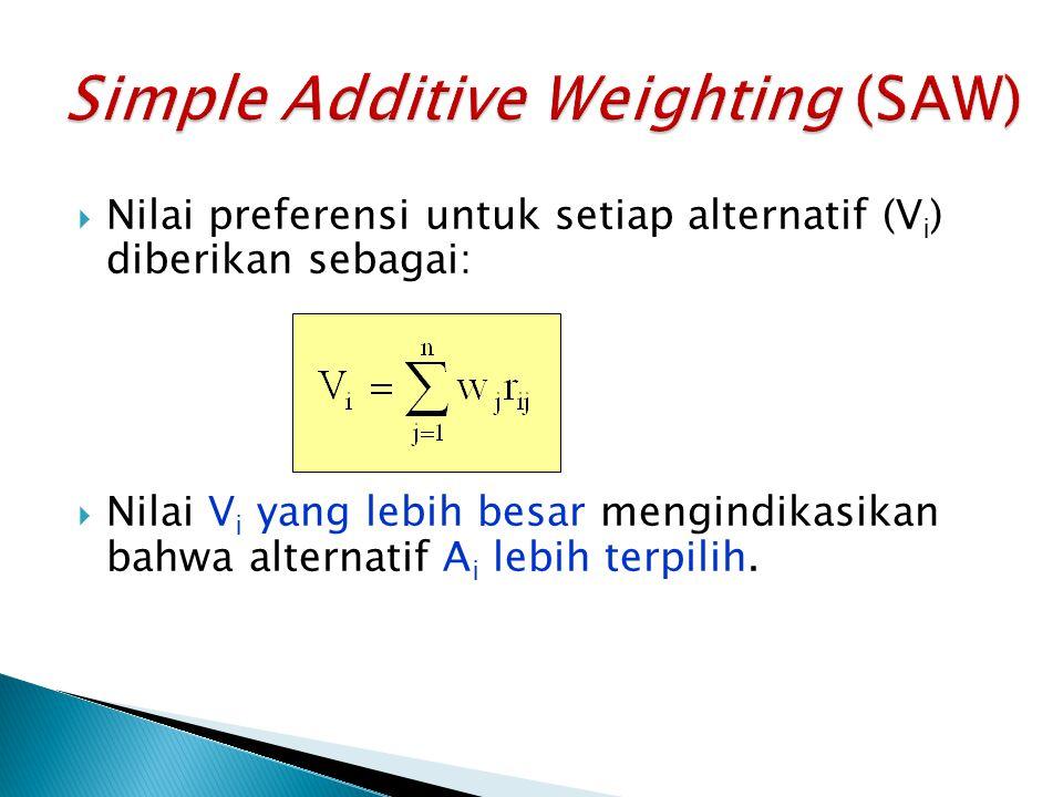  Nilai preferensi untuk setiap alternatif (V i ) diberikan sebagai:  Nilai V i yang lebih besar mengindikasikan bahwa alternatif A i lebih terpilih.