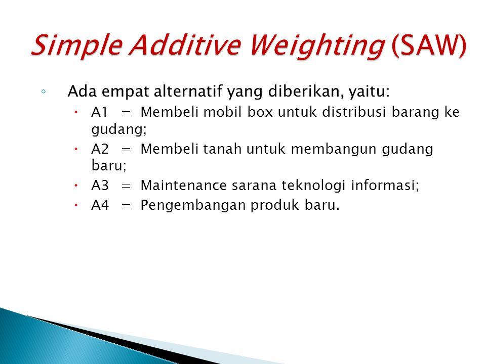 ◦ Ada empat alternatif yang diberikan, yaitu:  A1=Membeli mobil box untuk distribusi barang ke gudang;  A2=Membeli tanah untuk membangun gudang baru