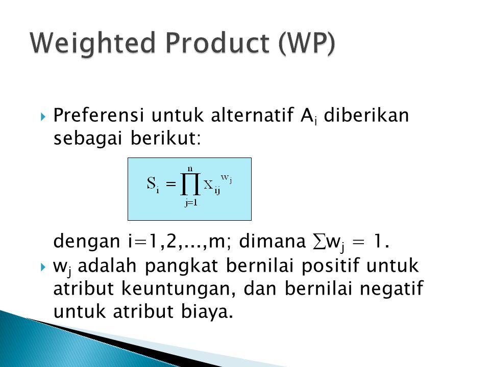  Preferensi untuk alternatif A i diberikan sebagai berikut: dengan i=1,2,...,m; dimana  w j = 1.  w j adalah pangkat bernilai positif untuk atribut