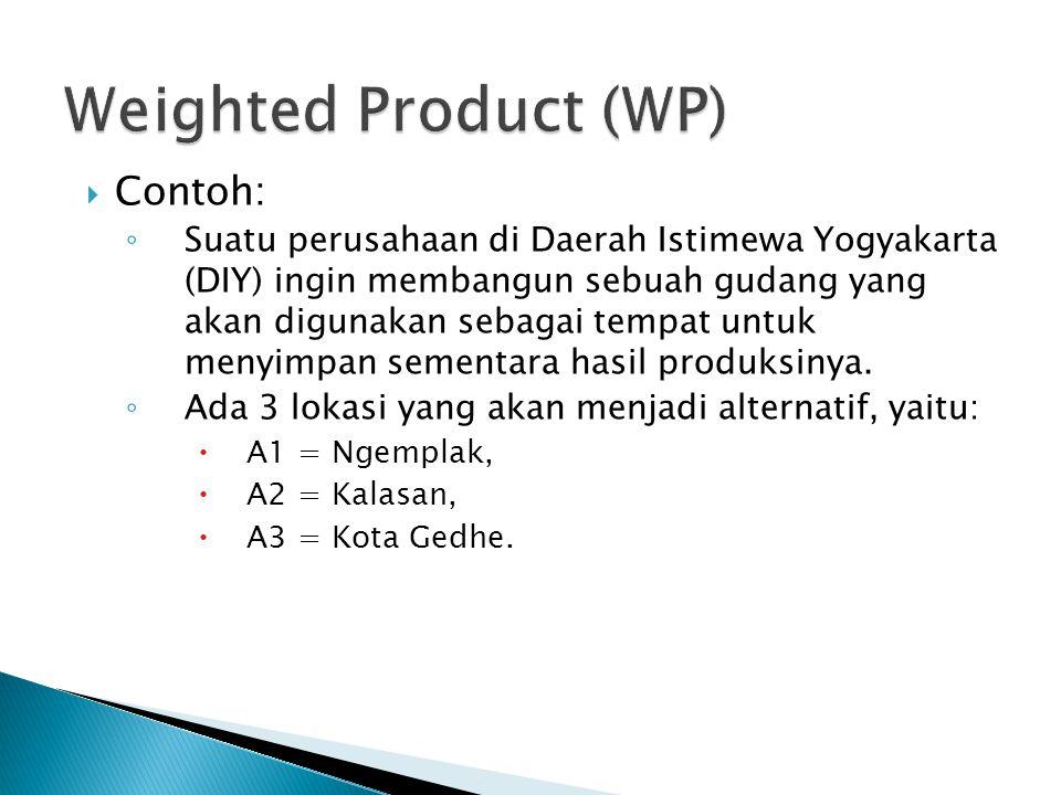  Contoh: ◦ Suatu perusahaan di Daerah Istimewa Yogyakarta (DIY) ingin membangun sebuah gudang yang akan digunakan sebagai tempat untuk menyimpan seme