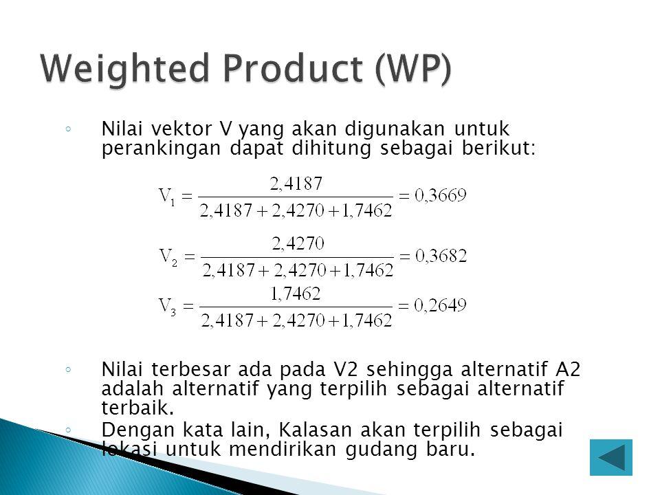 ◦ Nilai vektor V yang akan digunakan untuk perankingan dapat dihitung sebagai berikut: ◦ Nilai terbesar ada pada V2 sehingga alternatif A2 adalah alte