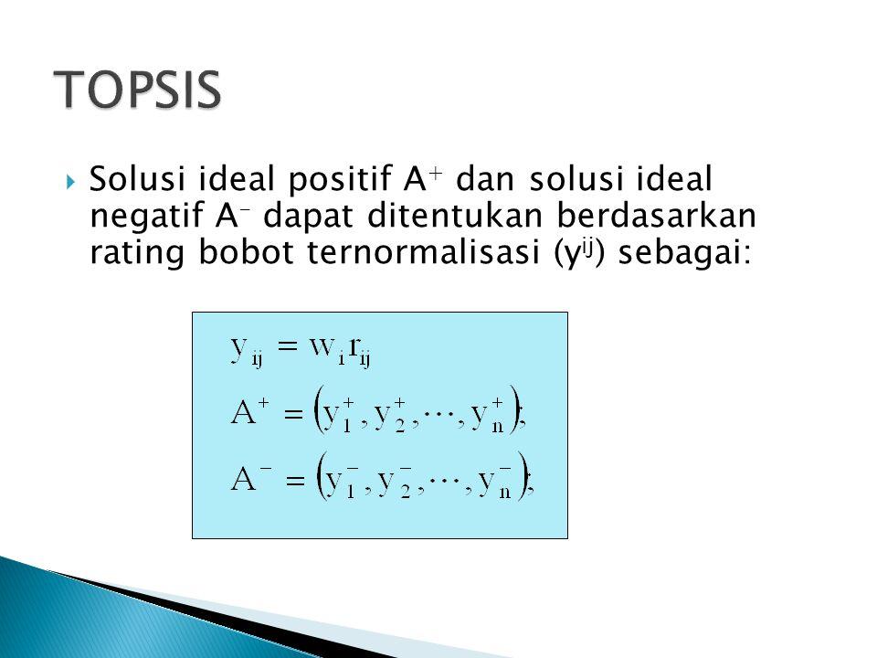  Solusi ideal positif A + dan solusi ideal negatif A - dapat ditentukan berdasarkan rating bobot ternormalisasi (y ij ) sebagai: