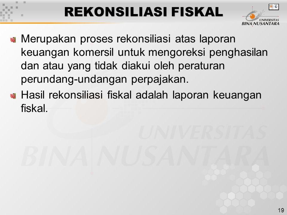 19 REKONSILIASI FISKAL Merupakan proses rekonsiliasi atas laporan keuangan komersil untuk mengoreksi penghasilan dan atau yang tidak diakui oleh perat