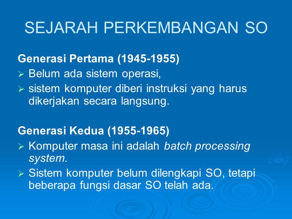 SEJARAH PERKEMBANGAN SO Generasi Pertama (1945-1955)   Belum ada sistem operasi,   sistem komputer diberi instruksi yang harus dikerjakan secara l