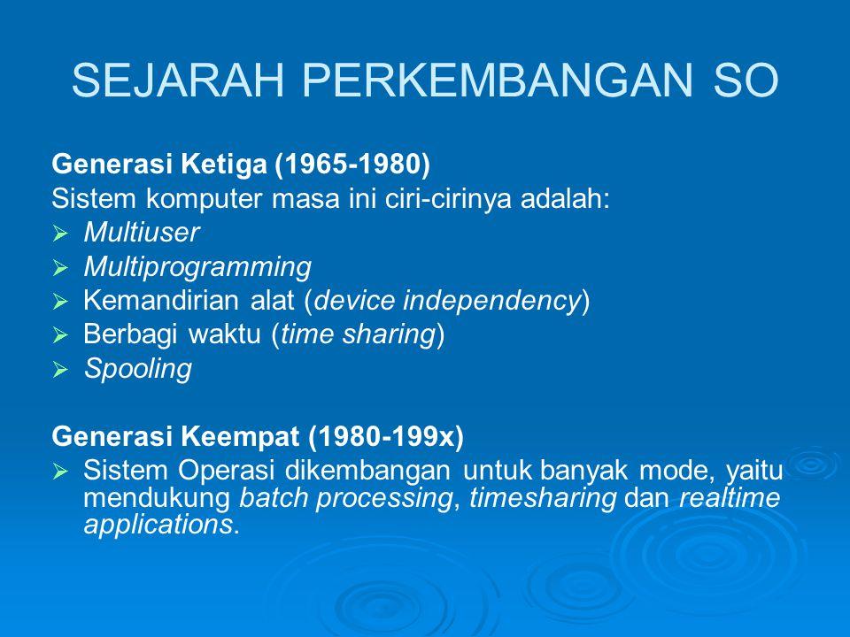 SEJARAH PERKEMBANGAN SO Generasi Ketiga (1965-1980) Sistem komputer masa ini ciri-cirinya adalah:   Multiuser   Multiprogramming   Kemandirian a