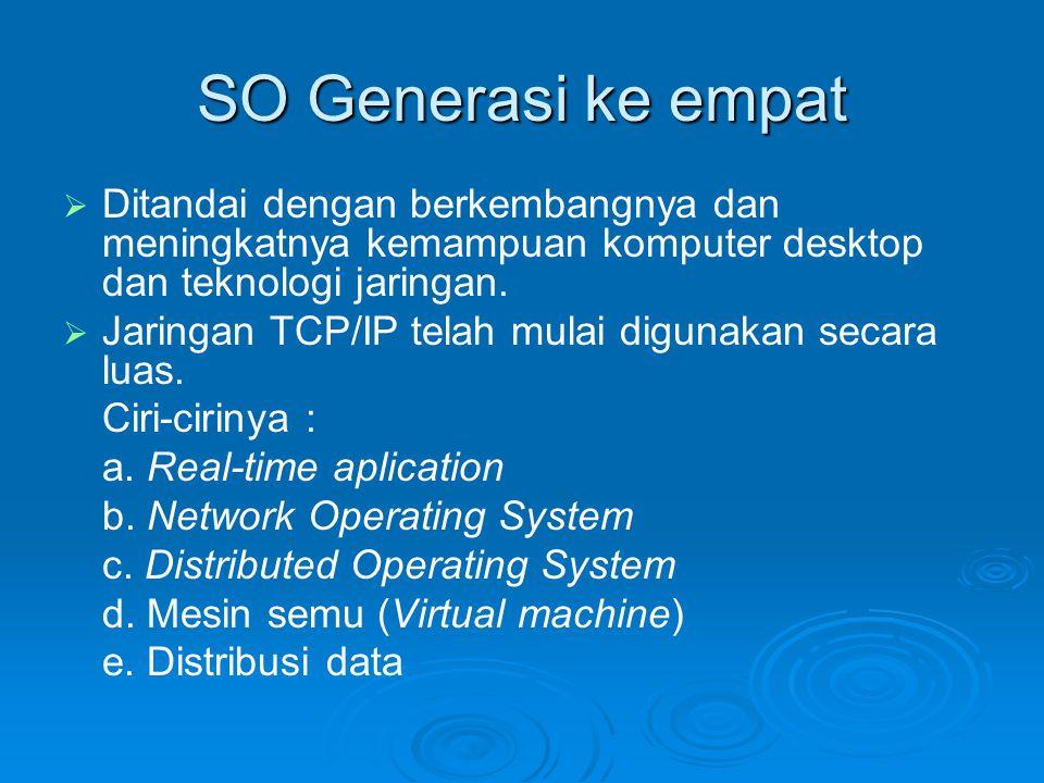 SO Generasi ke empat   Ditandai dengan berkembangnya dan meningkatnya kemampuan komputer desktop dan teknologi jaringan.   Jaringan TCP/IP telah m