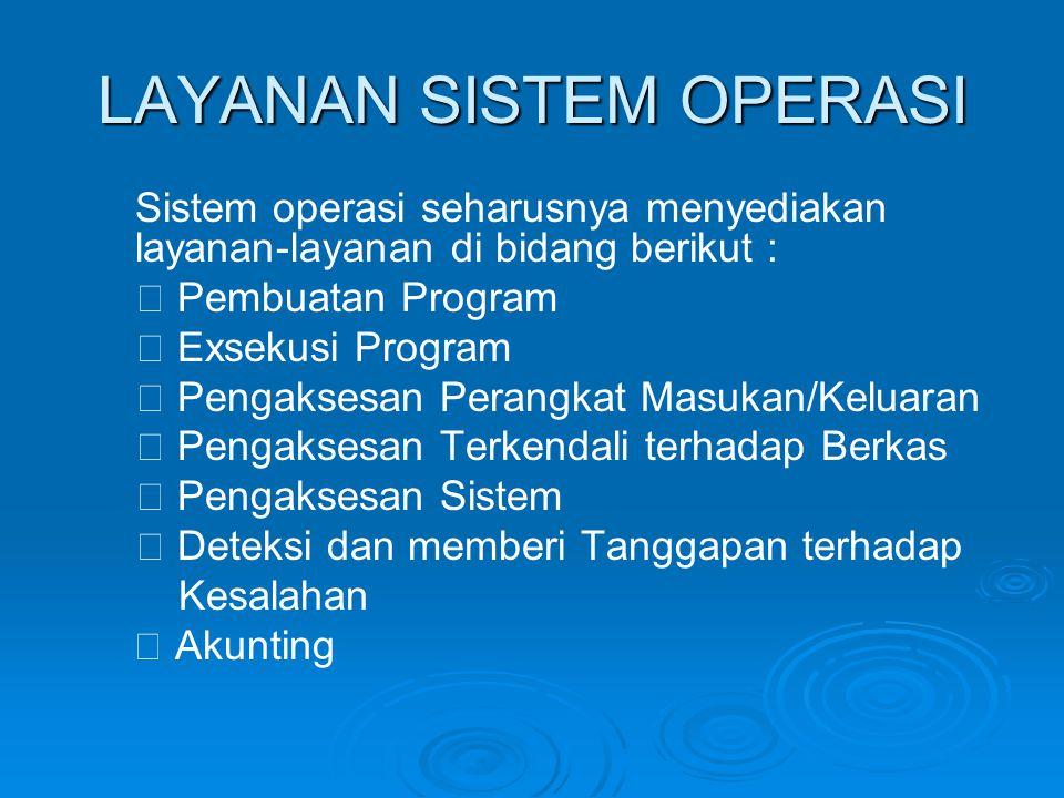 LAYANAN SISTEM OPERASI Sistem operasi seharusnya menyediakan layanan-layanan di bidang berikut :  Pembuatan Program  Exsekusi Program  Pengaksesan