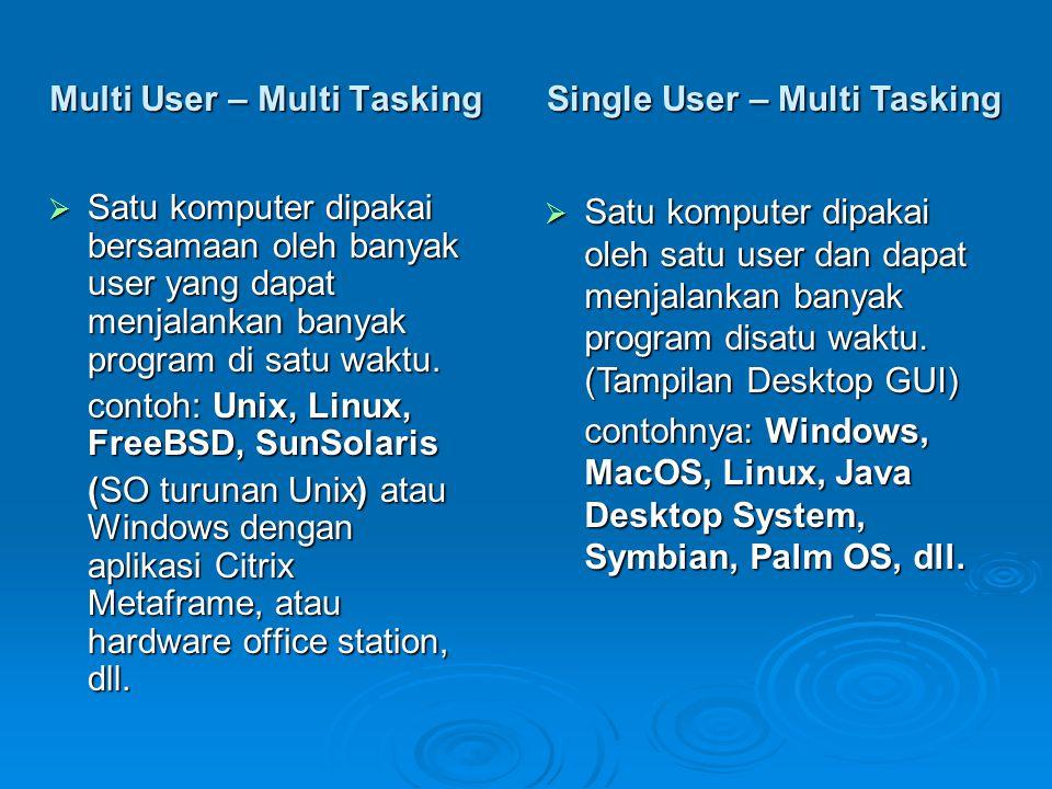Multi User – Multi Tasking  Satu komputer dipakai bersamaan oleh banyak user yang dapat menjalankan banyak program di satu waktu. contoh: Unix, Linux