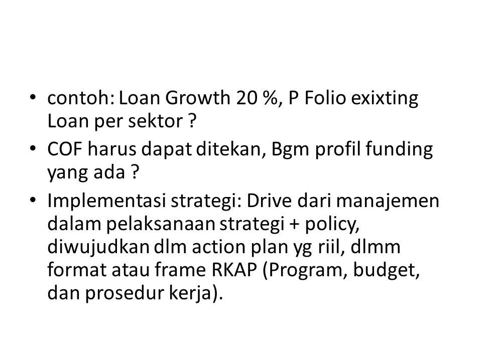 contoh: Loan Growth 20 %, P Folio exixting Loan per sektor ? COF harus dapat ditekan, Bgm profil funding yang ada ? Implementasi strategi: Drive dari