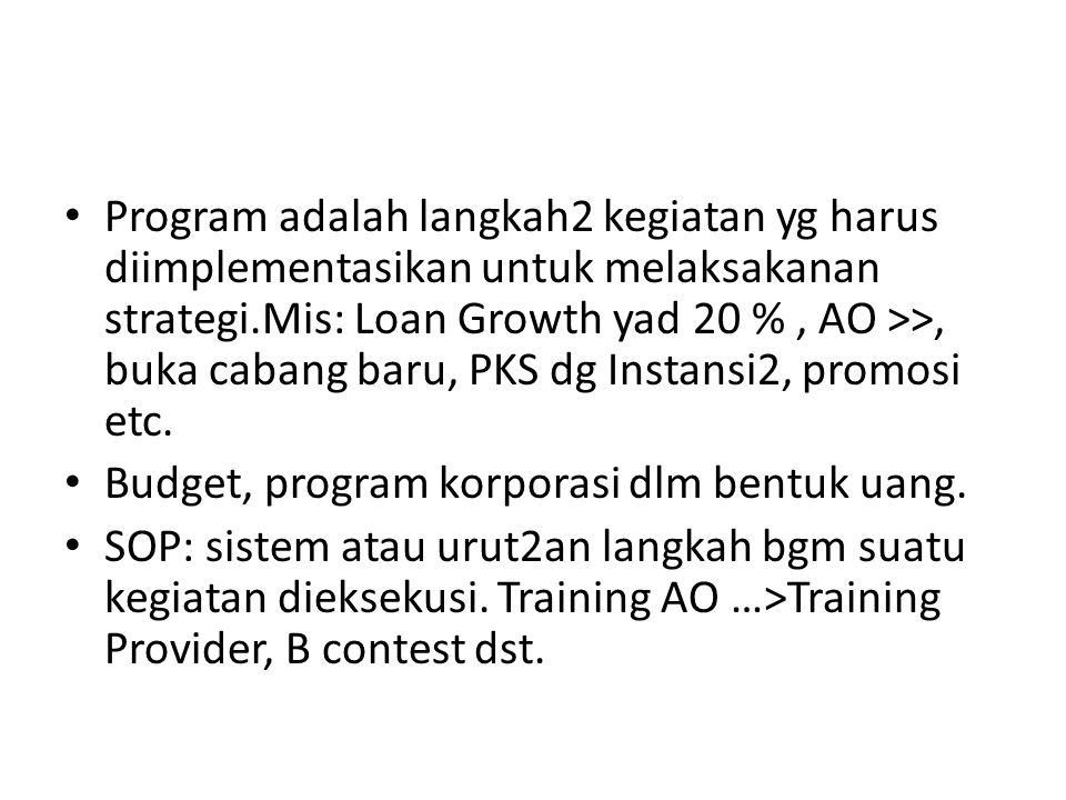 Program adalah langkah2 kegiatan yg harus diimplementasikan untuk melaksakanan strategi.Mis: Loan Growth yad 20 %, AO >>, buka cabang baru, PKS dg Ins