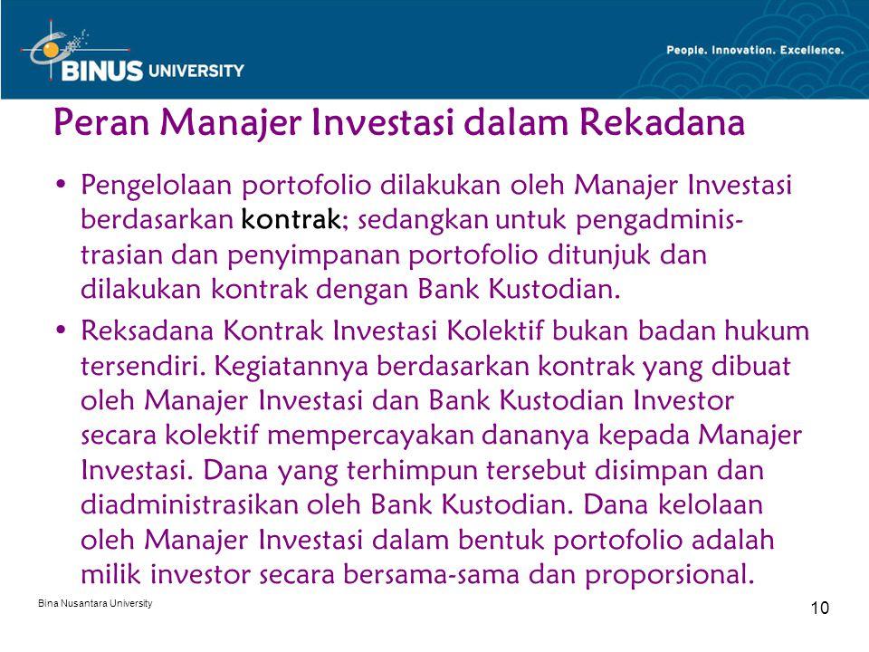 Bina Nusantara University 10 Peran Manajer Investasi dalam Rekadana Pengelolaan portofolio dilakukan oleh Manajer Investasi berdasarkan kontrak; sedangkan untuk pengadminis- trasian dan penyimpanan portofolio ditunjuk dan dilakukan kontrak dengan Bank Kustodian.