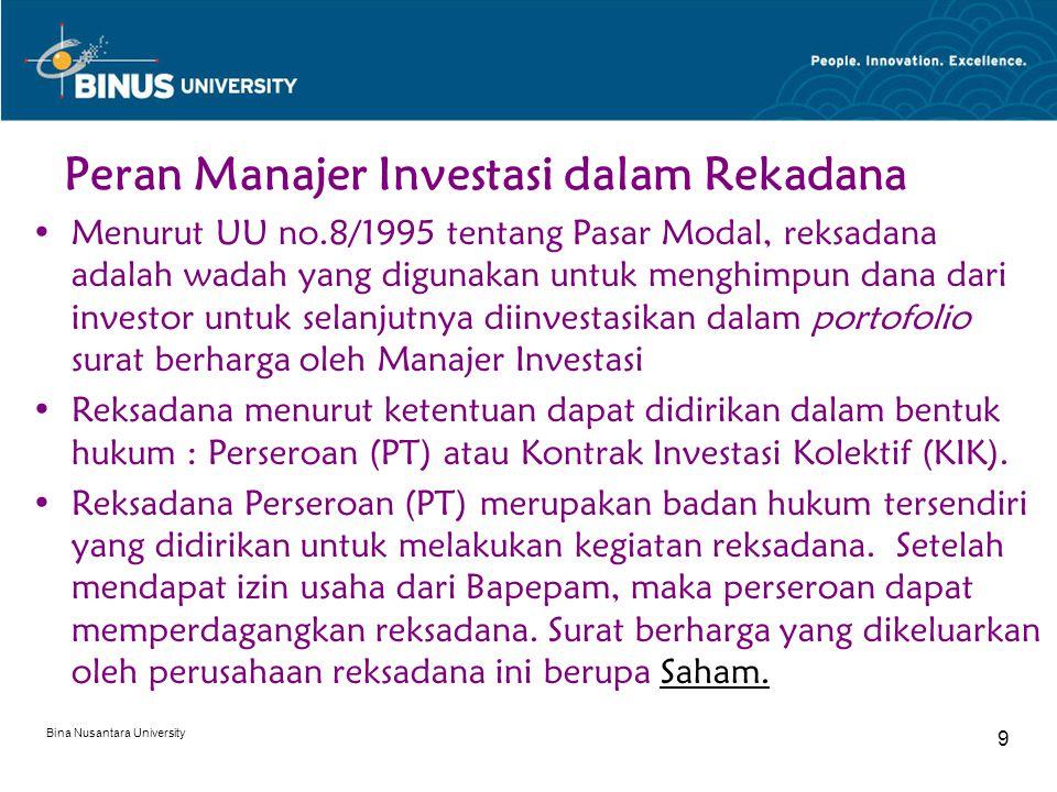 Bina Nusantara University 9 Peran Manajer Investasi dalam Rekadana Menurut UU no.8/1995 tentang Pasar Modal, reksadana adalah wadah yang digunakan untuk menghimpun dana dari investor untuk selanjutnya diinvestasikan dalam portofolio surat berharga oleh Manajer Investasi Reksadana menurut ketentuan dapat didirikan dalam bentuk hukum : Perseroan (PT) atau Kontrak Investasi Kolektif (KIK).