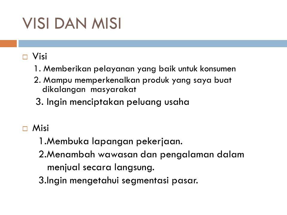 VISI DAN MISI  Visi 1.Memberikan pelayanan yang baik untuk konsumen 2.