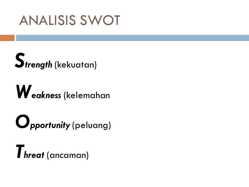 ANALISIS SWOT S trength (kekuatan) W eakness (kelemahan O pportunity (peluang) T hreat (ancaman)