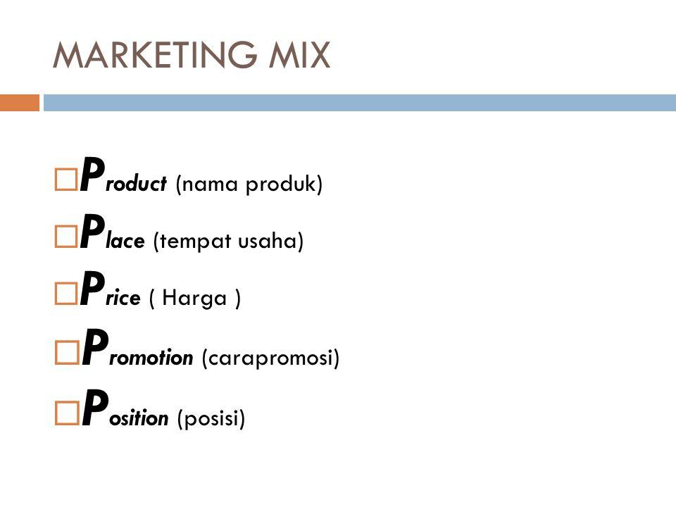 MARKETING MIX  P roduct (nama produk)  P lace (tempat usaha)  P rice ( Harga )  P romotion (carapromosi)  P osition (posisi)
