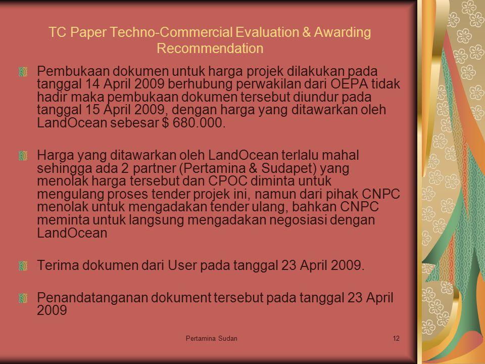 Pertamina Sudan12 TC Paper Techno-Commercial Evaluation & Awarding Recommendation Pembukaan dokumen untuk harga projek dilakukan pada tanggal 14 April 2009 berhubung perwakilan dari OEPA tidak hadir maka pembukaan dokumen tersebut diundur pada tanggal 15 April 2009, dengan harga yang ditawarkan oleh LandOcean sebesar $ 680.000.