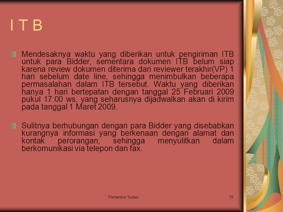 Pertamina Sudan15 I T B Mendesaknya waktu yang diberikan untuk pengiriman ITB untuk para Bidder, sementara dokumen ITB belum siap karena review dokume