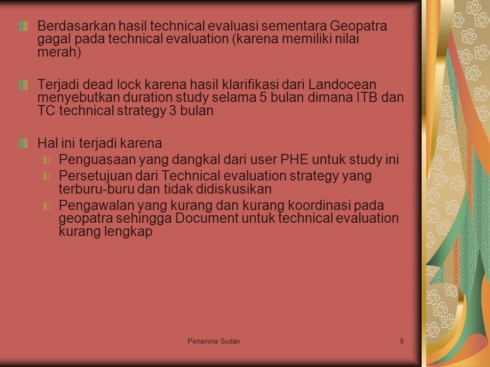 Pertamina Sudan8 Berdasarkan hasil technical evaluasi sementara Geopatra gagal pada technical evaluation (karena memiliki nilai merah) Terjadi dead lo