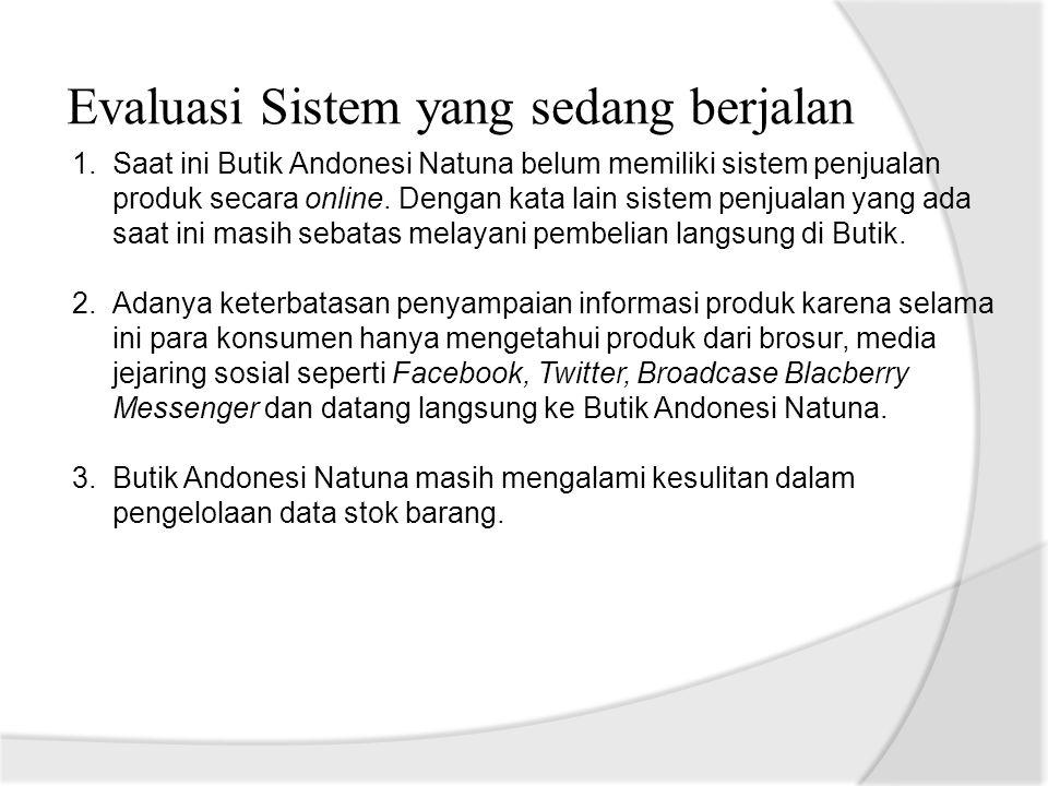 Evaluasi Sistem yang sedang berjalan 1.Saat ini Butik Andonesi Natuna belum memiliki sistem penjualan produk secara online. Dengan kata lain sistem pe